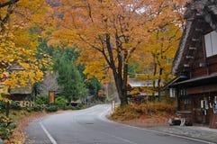 Shirakawago heritage cottage in magical Autumn Takayama Japan Royalty Free Stock Photo