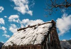 Shirakawago Historic Village in Gifu, Japan. A wooden house covered by snow at Historic Village of Shirakawago in Gifu, Japan Royalty Free Stock Photos