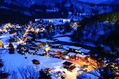 Shirakawago, Japan. World Heritage, Light up of Shirakawago, Japan Stock Photography