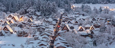 Shirakawago light-up Panorama Royalty Free Stock Photography