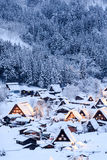 Shirakawago Light up with snow foreground Royalty Free Stock Photography