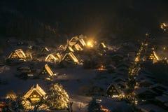 Shirakawago light-up. With Snowfall Gifu Chubu Japan Royalty Free Stock Images