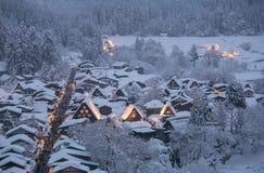 Shirakawago light-up. With Snowfall Gifu Chubu Japan Royalty Free Stock Image