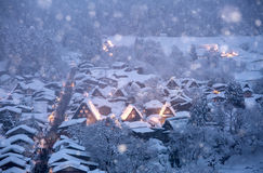 Shirakawago light-up snowfall Stock Photo