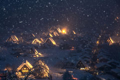 Shirakawago light-up snowfall Stock Photos