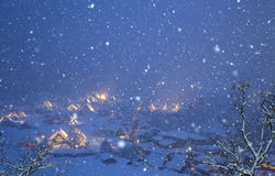 Shirakawago light-up snowfall Royalty Free Stock Photo