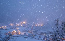 Shirakawago light-up snowfall Royalty Free Stock Photography