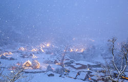 Shirakawago light-up snowfall Royalty Free Stock Photos