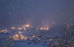 Shirakawago light-up snowfall Royalty Free Stock Image