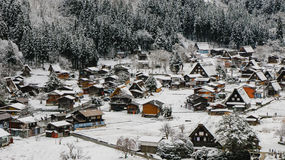 Shirakawago light-up with Snowfall Gifu Chubu Japan. Stock Photos