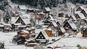 Shirakawago light-up with Snowfall Gifu Chubu Japan. Royalty Free Stock Images
