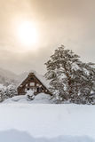 Shirakawago with Sun Snow Stock Image