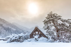Shirakawago with Sun Snow Royalty Free Stock Images