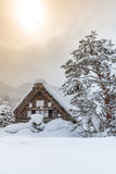 Shirakawago with Sun Snow Stock Photos