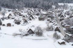 Shirakawago UNESCOvärldsarv i vinter Arkivfoton