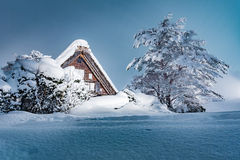 The Shirakawago village in winter, Japan Royalty Free Stock Images