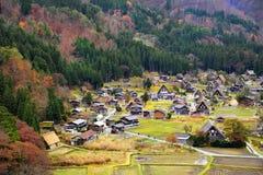 Shirakawago światowego dziedzictwa wioska w Colourful jesieni Zdjęcia Royalty Free