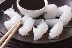 Shirataki με τη μακροεντολή σάλτσας σόγιας οριζόντιος Στοκ Φωτογραφία