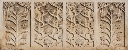 Beautiful marble delicate bas relief on the wall of Vakil mosque,Iran Royalty Free Stock Images