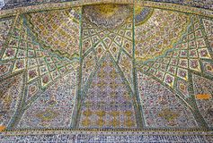 Beautiful old decorated painting mosaic on the wall of Vakil mosque Stock Images