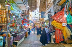 Explore Vakil Bazaar, Shiraz, Iran. SHIRAZ, IRAN - OCTOBER 14, 2017: Explore Vakil Bazaar with large textile section, offering different fabrics, accessories royalty free stock photos