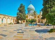 Memorial stone panels in Ali Ibn Hamzeh Holy Shrine, Shiraz, Iran. SHIRAZ, IRAN - OCTOBER 14, 2017: The floor in courtyard of Ali Ibn Hamzeh Holy Shrine is stock images