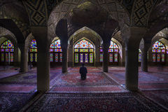 Shiraz, Iran - October 8, 2014: Nasir Al-Mulk Mosque in Shiraz, Iran, also known as Pink Mosque Royalty Free Stock Photos