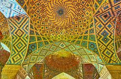 The vault of old mosque, Shiraz, Iran Royalty Free Stock Photo