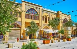 The central street of old Shiraz, Iran. SHIRAZ, IRAN - OCTOBER 14, 2017: Walk the medieval Zand street with its small shops, teahouses, fresh juice bars stock photos