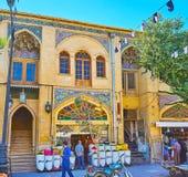 The shops in Zand street, Shiraz, Iran. SHIRAZ, IRAN - OCTOBER 14, 2017: Zand street is one of the main tourist destination, full of souvenir stores, spice royalty free stock photos