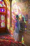 SHIRAZ, IRAN - SEPTEMBER 18,2018: Tourist in Nasir Al-Mulk Mosque also known as Pink Mosque in Shiraz, Iran stock image