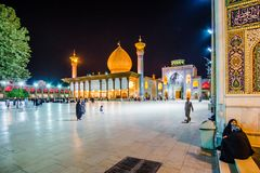 Shiraz, Iran 24th October 2017 Shah Cheragh, a funerary monument and mosque in Shiraz by night stock photos