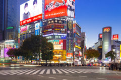 Shirbuya scramble crossing in Tokyo at night, Japan. TOKYO, JAPAN - NOVEMBER 12, 2016: Shirbuya scramble crossing in Tokyo at night, Japan. Shibuya Crossing is Royalty Free Stock Photography
