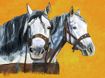 Shire horses painting Stock Photography