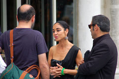 Shirin Neshat at Excelsior. Shirin Neshat talking in front of the Excelsior Hotel at Lido of Venice just before the official awards. She won the silver lion Stock Image