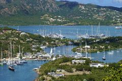 Shirley heights in Antigua, Caribbean. Panorama of Nelson's dock in Antigua Royalty Free Stock Image