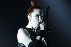 Shirley Manson from GARBAGE performs on stage on November 13, 2012 in Minsk, Belarus. MINSK, BELARUS - NOVEMBER 13, 2012: Shirley Manson from GARBAGE performs on Stock Image