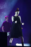Shirley Manson from GARBAGE performs on stage on November 13, 2012 in Minsk, Belarus Royalty Free Stock Images
