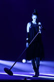 Shirley Manson from GARBAGE performs on stage on November 13, 2012 in Minsk, Belarus. MINSK, BELARUS - NOVEMBER 13, 2012: Shirley Manson from GARBAGE performs on Royalty Free Stock Images