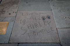 Shirley Temple handprints in Hollywood Boulevard in front of Chinese Theater - Los Angeles California, USA stock images