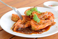 Shirmp com molho do tamarind, alimento tailandês Imagens de Stock Royalty Free