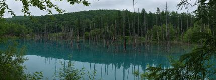 Shirogane蓝色池塘反射无危险大海  免版税库存图片