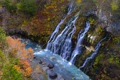 Shirohige falls ,hokkaido,japan. Shirohige falls in autumn , hokkaido ,japan royalty free stock photos