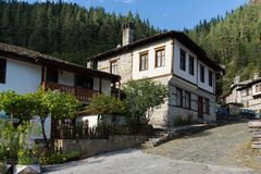 Nineteenth century houses in historical town of Shiroka Laka, Smolyan Region, Bulgaria stock photos