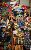 SHIROKA LAKA, BULGARIA - MARCH 5: People dressed in traditional costumes called Kukeri celebrate arrival of Spring with ritual dan Royalty Free Stock Photos