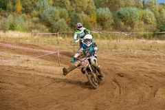 Shirokov Matvey 72. SERPUKHOV, RUSSIA - OCTOBER 7, 2017: Shirokov Matvey 72,  Class Juniors absolute, in the 4 stage  MX series, the Red Wings Cup 2017 super Stock Images