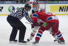 Shirokov Sergey on a faceoff Royalty Free Stock Photos