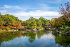 Shirotori Garden, a Japanese garden in nagoya. The Shirotori Garden is a Japanese-style garden with a path running along the banks of streams and ponds. The area stock photography