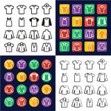 Shirt All in One Icons Black & White Color Flat Design Freehand Set Stock Photo