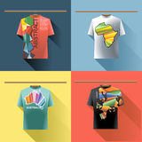 Shirt collection set with colored logo with triangles. And text on hanger in wardrobe. Abstract, africa, australia and europe. Digital vector image Stock Image
